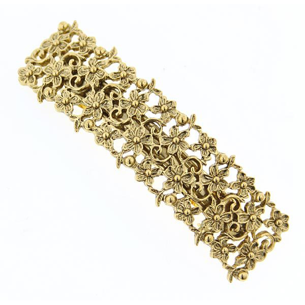 Gold-Tone Filigree Flowers Bar Barrette $16.00 AT vintagedancer.com