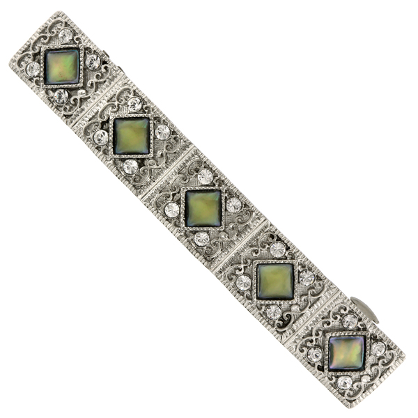 Silver-Tone Crystal and Mother of Pearl Bar Barrette $20.00 AT vintagedancer.com