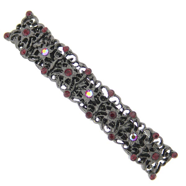 Black-Tone Garnet Red Crystal Filigree Barrette $18.00 AT vintagedancer.com