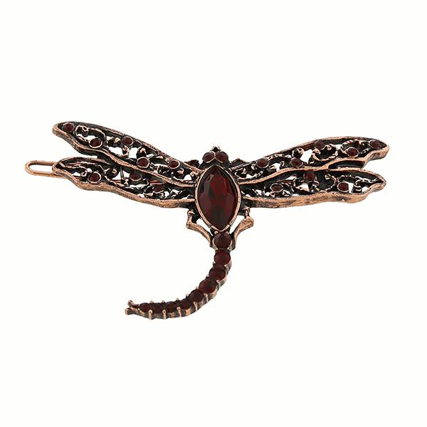 Copper-Tone Red Swarovski Crystal Dragonfly Barrette