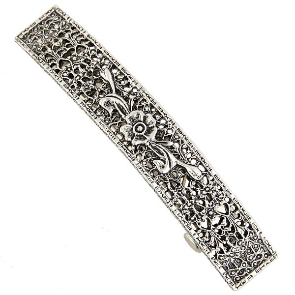 Silver-Tone Floral Rectangle Bar Barrette