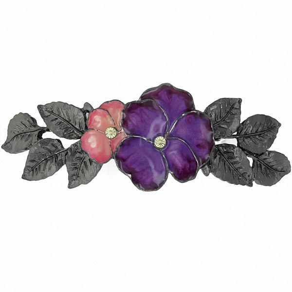 Jet-Tone Pink and Purple Enamel Flower Barrette $26.00 AT vintagedancer.com