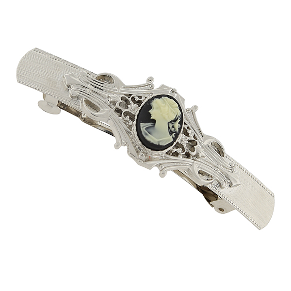 Silver-Tone Black and Faux Ivory Cameo Oval Bar Barrette $16.00 AT vintagedancer.com