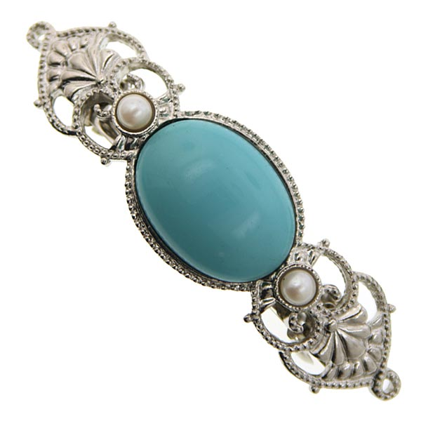 Magnificent Cabochon Turquoise Barrette with Pearls