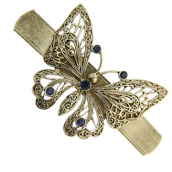 Gold-Tone Blue Crystal Butterfly Barrette