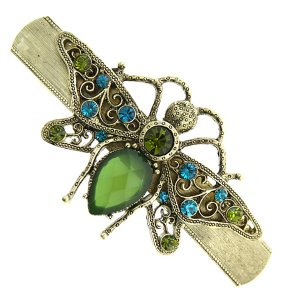 Gold-Tone Green and Blue Crystal Bee Barrette $24.00 AT vintagedancer.com