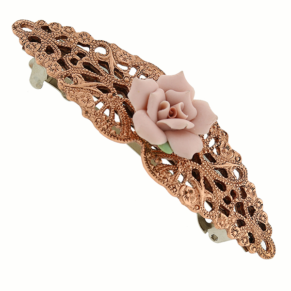 Copper-Tone Pink Genuine Porcelain Rose Filigree Bar Barrette $18.00 AT vintagedancer.com