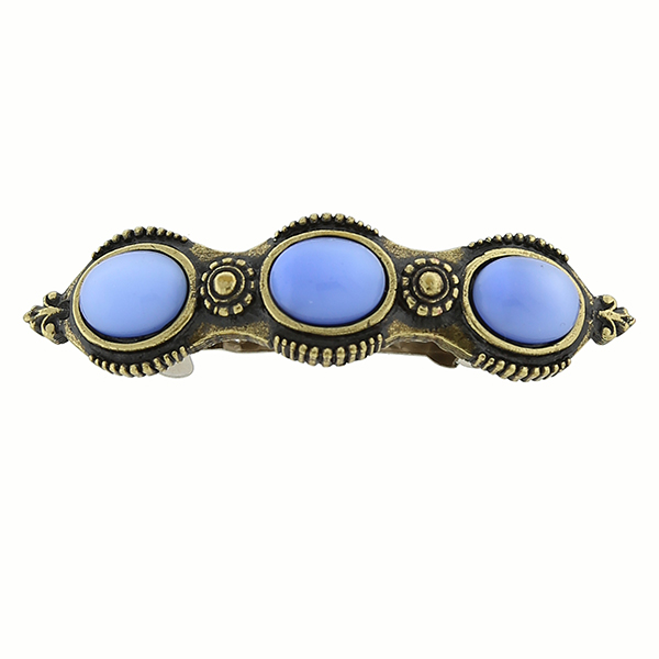 Burnished Gold-Tone Blue Moonstone Barrette $14.00 AT vintagedancer.com