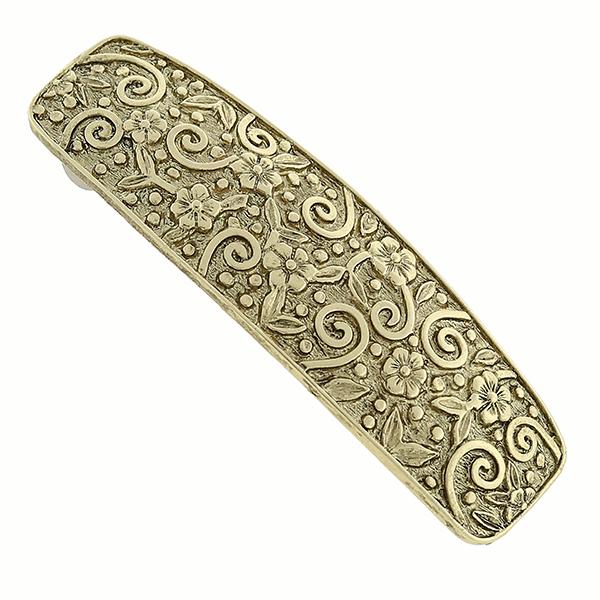 Gold-Tone Floral Pattern Barrette