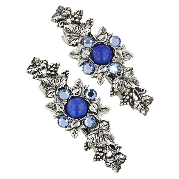 Silver-Tone Light Blue Flower Barrette Set $22.00 AT vintagedancer.com