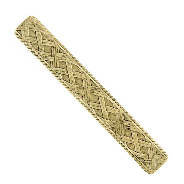 Gold-Tone Embossed Bar Hair Barrette