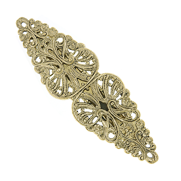 Gold-Tone Victorian-Inspired Filigree Hair Barrette $16.00 AT vintagedancer.com