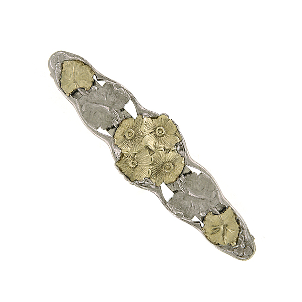 Silver -Tone and Gold-Tone Flower Hair Barrette