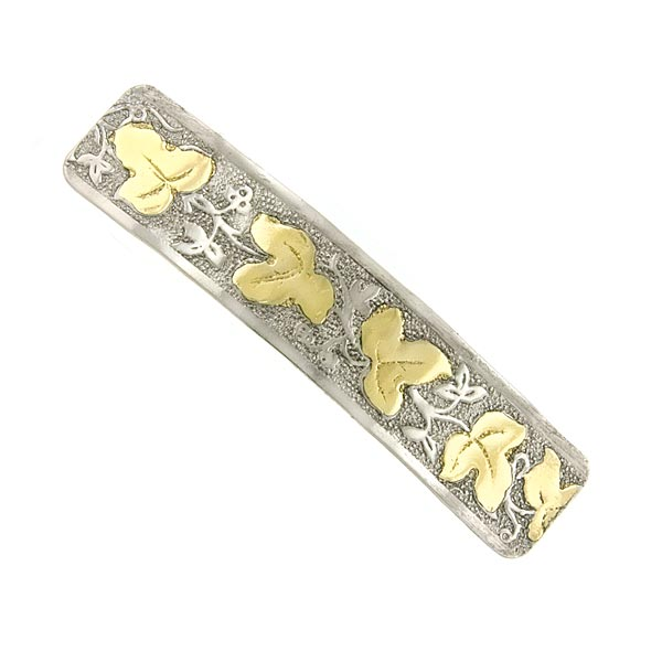 Silver -Tone and Gold-Tone Leaf Rectangle Hair Barrette