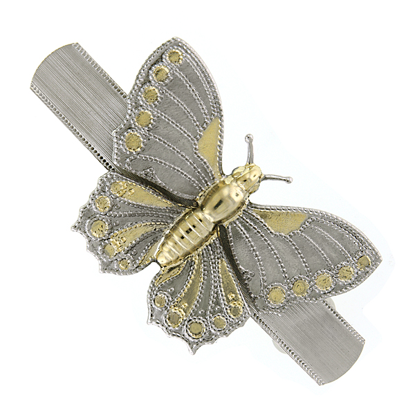 Silver-Tone and Gold-Tone Butterfly Hair Barrette