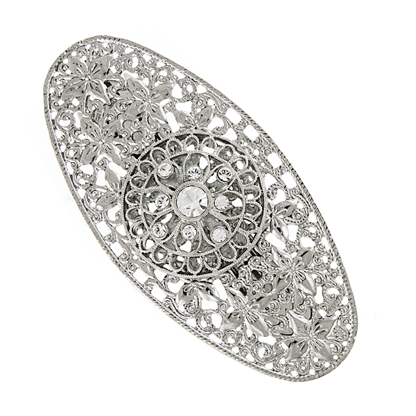 Silver-Tone Filigree Crystal Oval Barrette