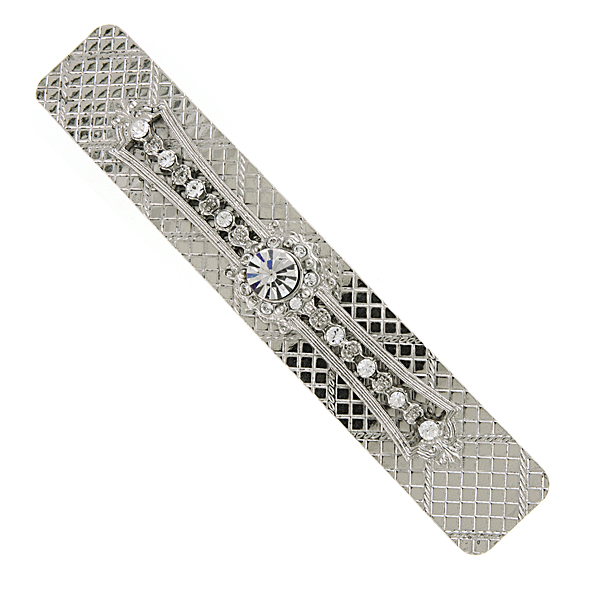 Silver-Tone Crystal Bar Hair Barrette