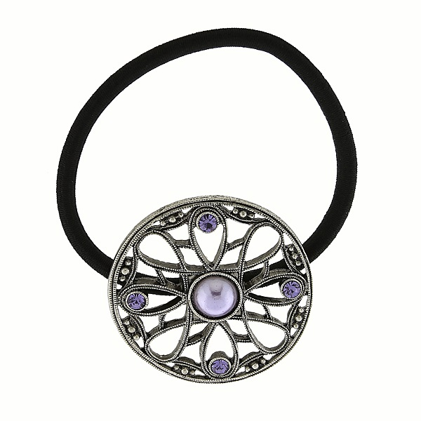 Silver-Tone Purple Round Filigree Elastic Hair Band