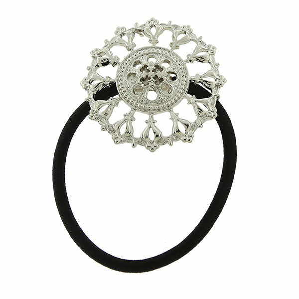 Silver-Tone Round Filigree Elastic Hair Band
