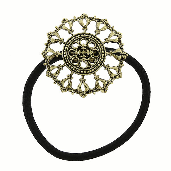 Gold-Tone Filigree Round Elastic Hair Band