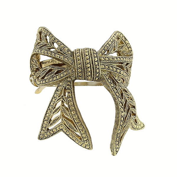 Gold-Tone Filigree Bow Ponytail Holder