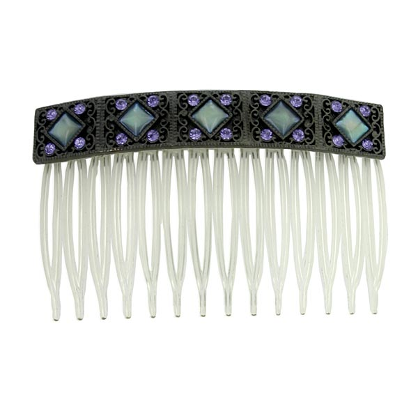 Black and Blue Mother of Pearl Hair Comb $26.00 AT vintagedancer.com