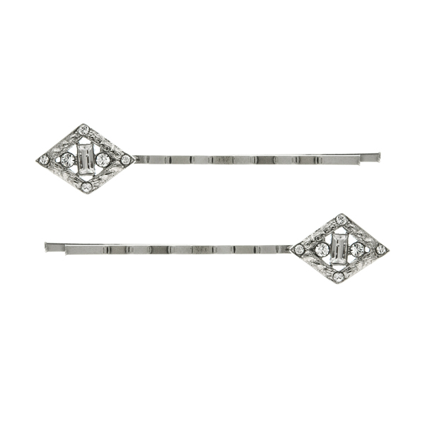 Downton Abbey Silver-Tone Edwardian Crystal Pave Bobby Pin Set $24.00 AT vintagedancer.com