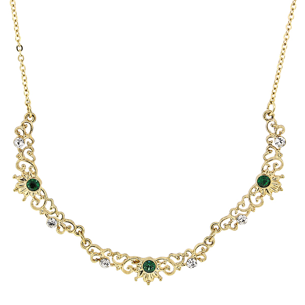 Downton AbbeyBoxed Gold-tone Emerald Crystal Filigree Scallop Necklace