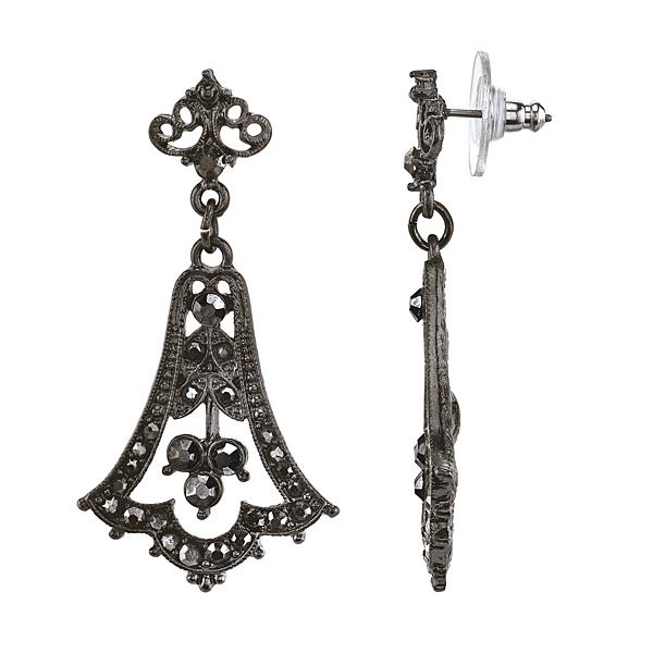 Downton Abbey� Boxed Jet-Tone Hematite Crystal Fleur Drop Earrings
