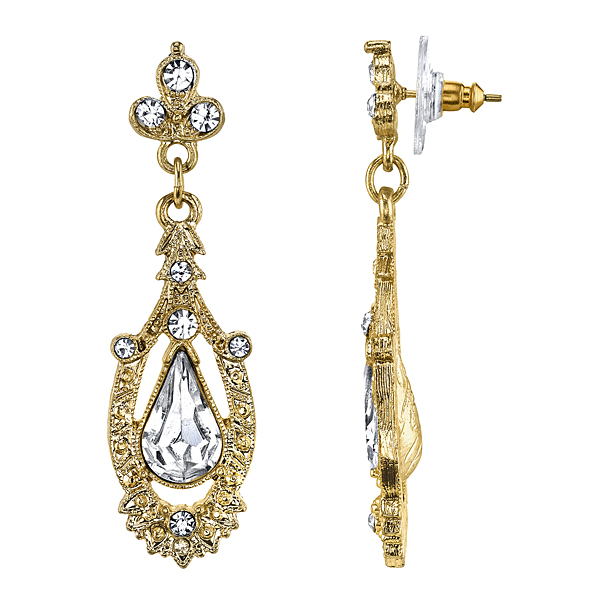 Downton Abbey Boxed Gold-Tone Crystal Accent Pave Drop Earrings $35.00 AT vintagedancer.com