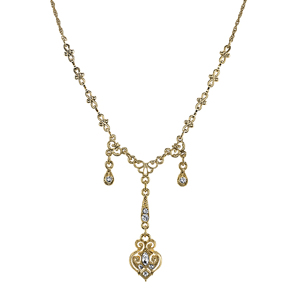 Downton Abbey� Boxed Gold-Tone Crystal Triple Drop Y Necklace