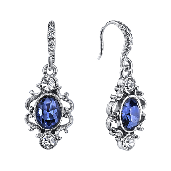 Downton Abbey Silver-Tone Blue Crystal Oval Drop Earrings $25.00 AT vintagedancer.com
