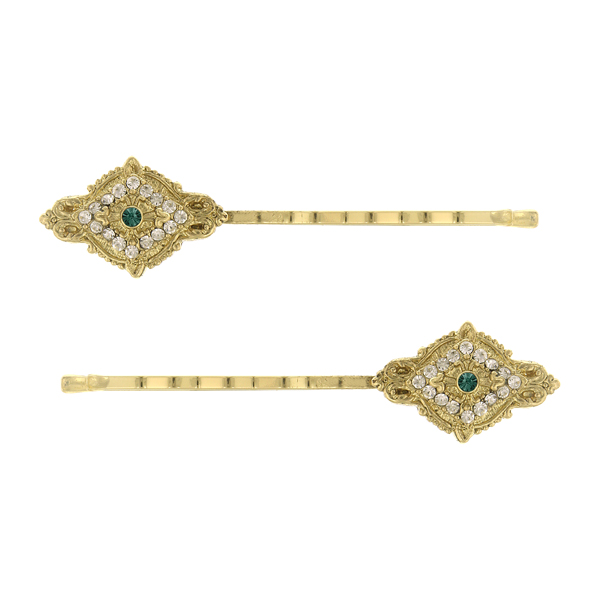 Downton Abbey Gold-Tone Emerald Green Crystal Bobby Pin Set $25.00 AT vintagedancer.com