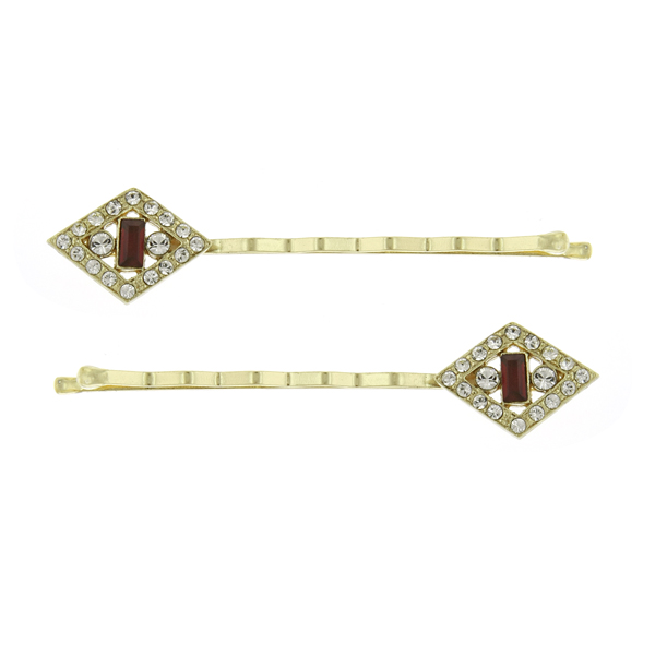 Downton Abbey Gold-Tone Red Crystal Diamond-Shaped Bobby Pin Set $24.00 AT vintagedancer.com