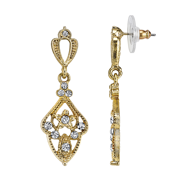 Downton Abbey Gold-Tone Crystal  Filigree Kite-Shaped Drop Earrings $25.00 AT vintagedancer.com