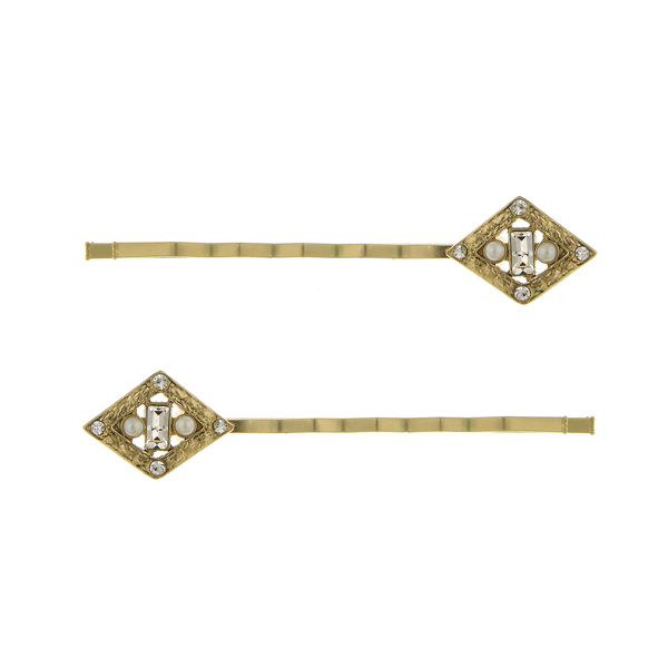 Downton Abbey Gold-Tone Crystal Diamond-Shaped Bobby Pin Set $24.00 AT vintagedancer.com