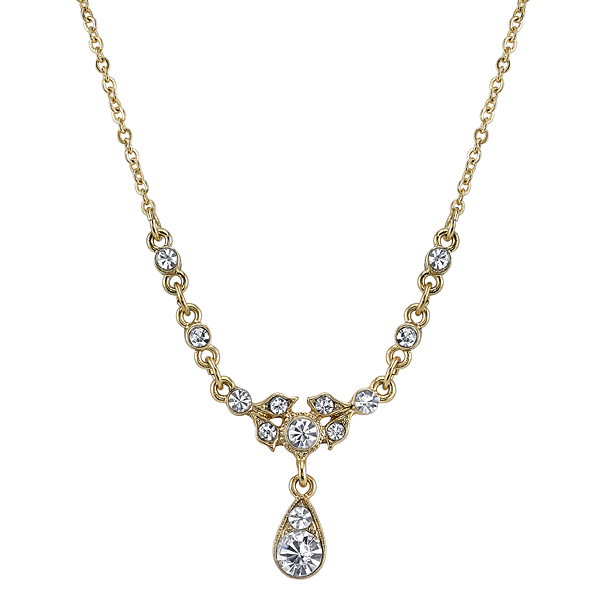 Downton Abbey Boxed Gold-Tone Crystal Drop Pendant Necklace $30.00 AT vintagedancer.com