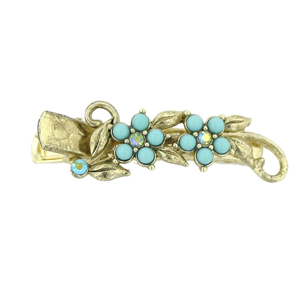 Brass-Tone Imitation Turquoise and Crystal Flower Hair Clip $12.00 AT vintagedancer.com