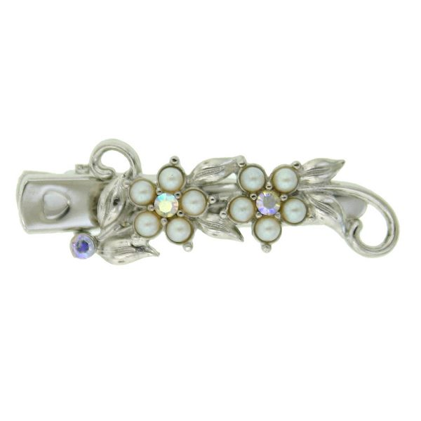 Silver-Tone Faux Pearl and Crystal Flower Hair Clip $14.00 AT vintagedancer.com