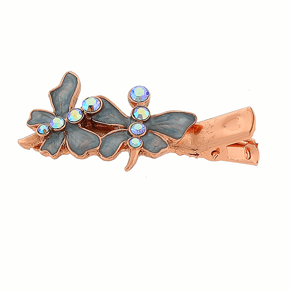 Copper-Tone Blue Pearlized Enamel Butterfly Hair Clip