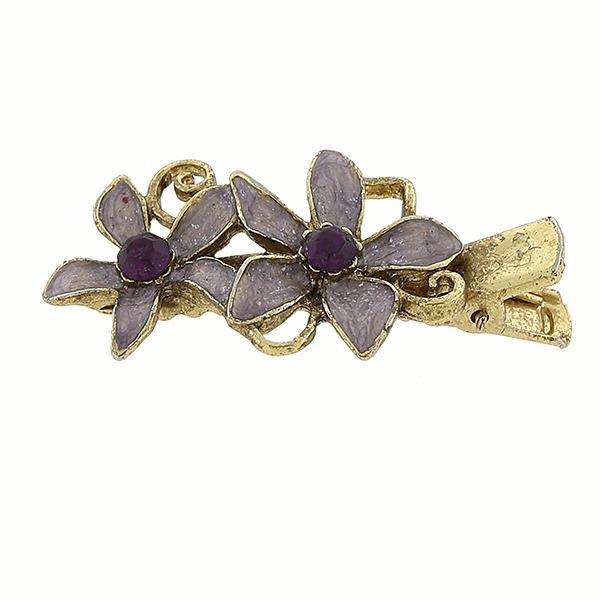 Gold-Tone Purple Enamel Flower Hair Clip $12.00 AT vintagedancer.com