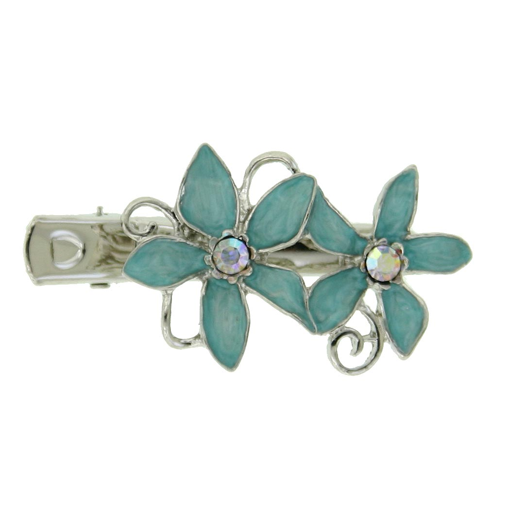 Silver-Tone Aqua Blue Enamel Flower Hair Clip $15.00 AT vintagedancer.com
