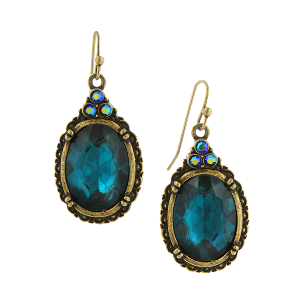 Victorian Peacock Turquoise Gem Earrings $32.00 AT vintagedancer.com