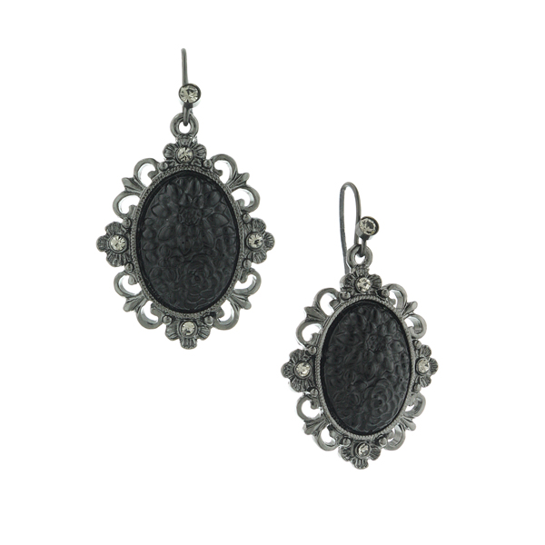Signature Jet-Tone Black Oval Earrings $24.00 AT vintagedancer.com