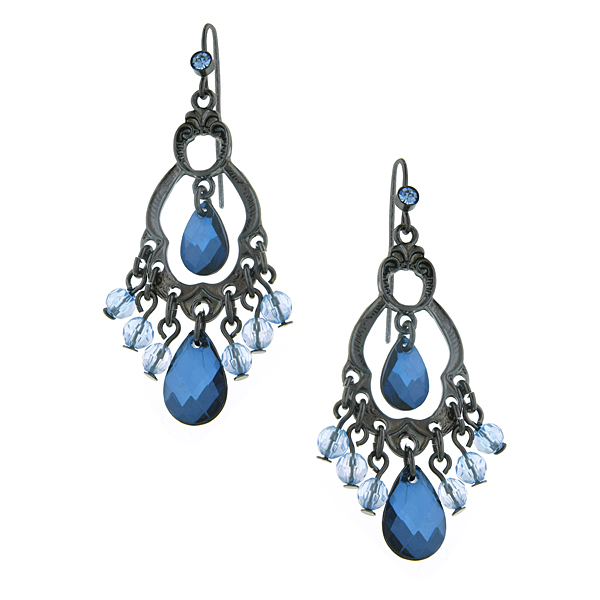 Jet-Tone Blue Briolette Chandelier Earrings