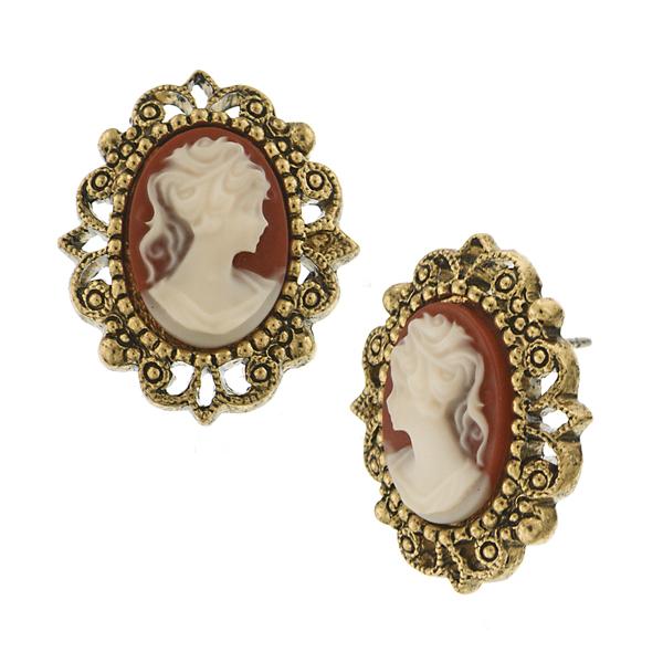 Brass-Tone Faux Carnelian Cameo Earrings