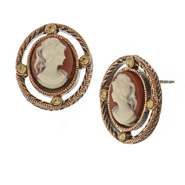 Copper-Tone Faux Carnelian Cameo Stud Earrings