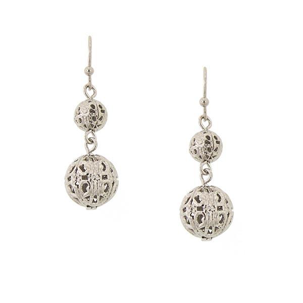 Cirque Silver-Tone Globe Earrings