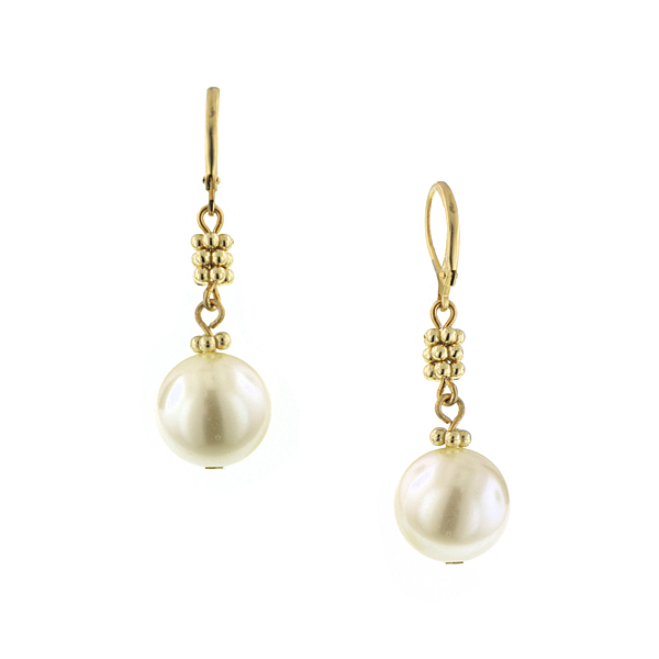 Signature Gold-Tone Simulated Pearl Drop Earrings $18.00 AT vintagedancer.com