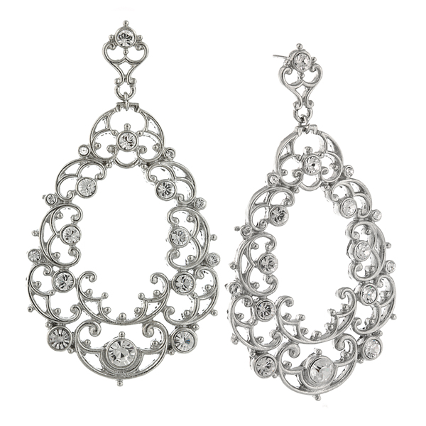 Silver-Tone Crystal Victorian-Style Filigree Large Pear-Shaped Hoop Earrings $60.00 AT vintagedancer.com